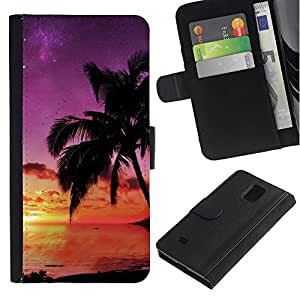 iBinBang / Flip Funda de Cuero Case Cover - Puesta de sol de coco Beautiful Nature 121 - Samsung Galaxy Note 4 SM-N910