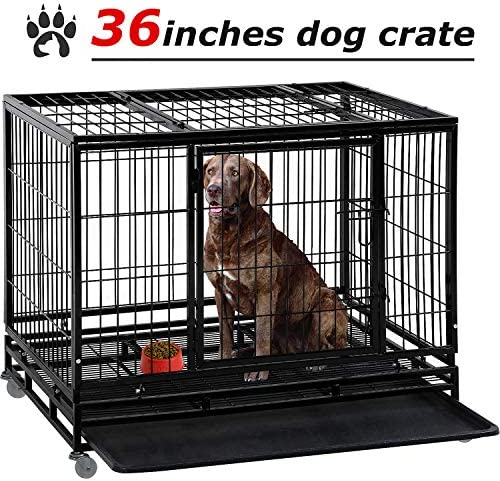 Large Dog Crate Dog Cage Dog Kennel Heavy Duty 48 42 36 Inches Pet Playpen for Training Indoor Outdoor with Plastic Tray Double Doors Locks Design