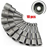 "10 PCs 1/4"" 6mm-19mm Hex Shank Magnetic Nut Driver Set Power Socket Drill Bit Adapter Tool"