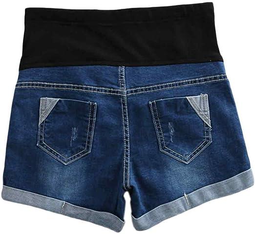 Xinvivion Donne maternit/à Jeans Pantaloncini Moda Regolabile Elastico Cura Pancia Estate Incinta Denim Corto Shorts Pantaloni