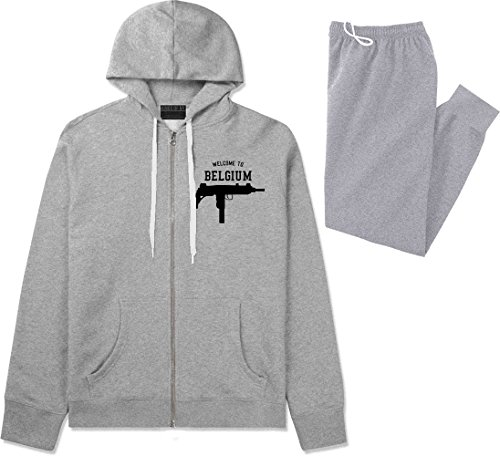 Welcome To Belgium Uzi Machine Guns Country Sweat Suit Hoodie Sweatpants XX-Large Grey