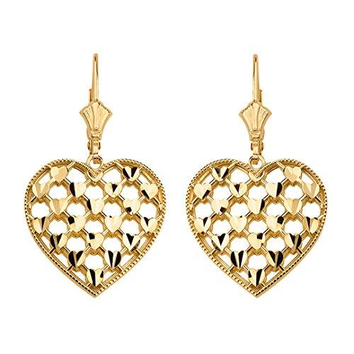 - Polished 14k Yellow Gold Love Heart Filigree Leverback Earrings