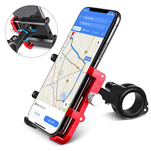 HOMEASY Universal Bike Phone Mount Motorcycle Handlebar Cellphone Bicycle Holder Adjustable, Fits iPhone X, XR, 8 | 8 Plus, 7 | 7 Plus, Galaxy S9, S8, Holds Phones from 3.5-7