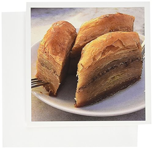 3dRose Baklava - baklava, food, forks, kitchen, nuts, pastry, plate - Greeting Cards, 6 x 6 inches, set of 12 (gc_46791_2) (Best Nuts For Baklava)