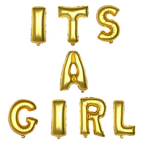 16 Inches Gold Balloons Banner Set Aluminum Foil Letter Balloons for Wedding Bridal Shower Bachelorette Party, Baby Shower Romantic Proposal Party Decoration Supplies (IT'S A Girl) -