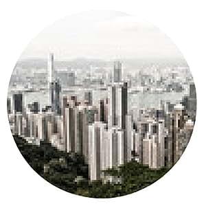 alfombrilla de ratón Hong Kong y Kowloon edificios. Vista aérea de rascacielos en una - ronda - 20cm