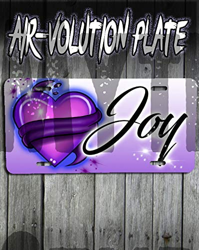 Personalized Airbrushed Heart And Ribbon License Plate Tag