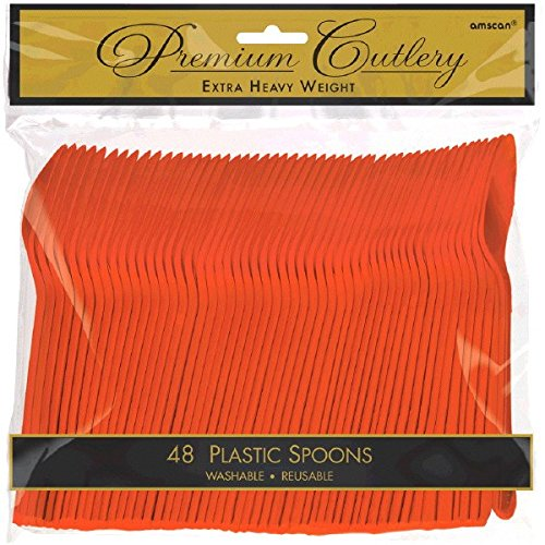 Amscan Heavy Duty Party Spoon Tableware, Orange Peel, Plastic , Full Size, Pack of 48 Party Supplies