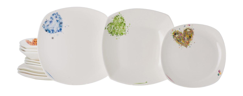 Colore /Servizio in Porcellana 12/Pezzi Bianco La Cija Cuori del Anno Bilbao/