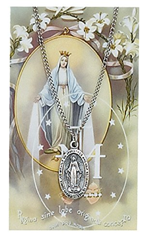 St Mary, Miraculous Prayer Card Set, Pewter Medal Includes 18