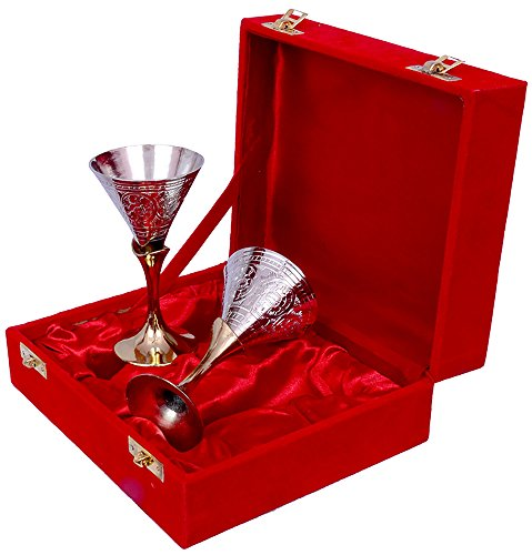 Jaipur Ace Silver Gold Plated Small Wine Glass Set (Absg00062) Multicolour ()