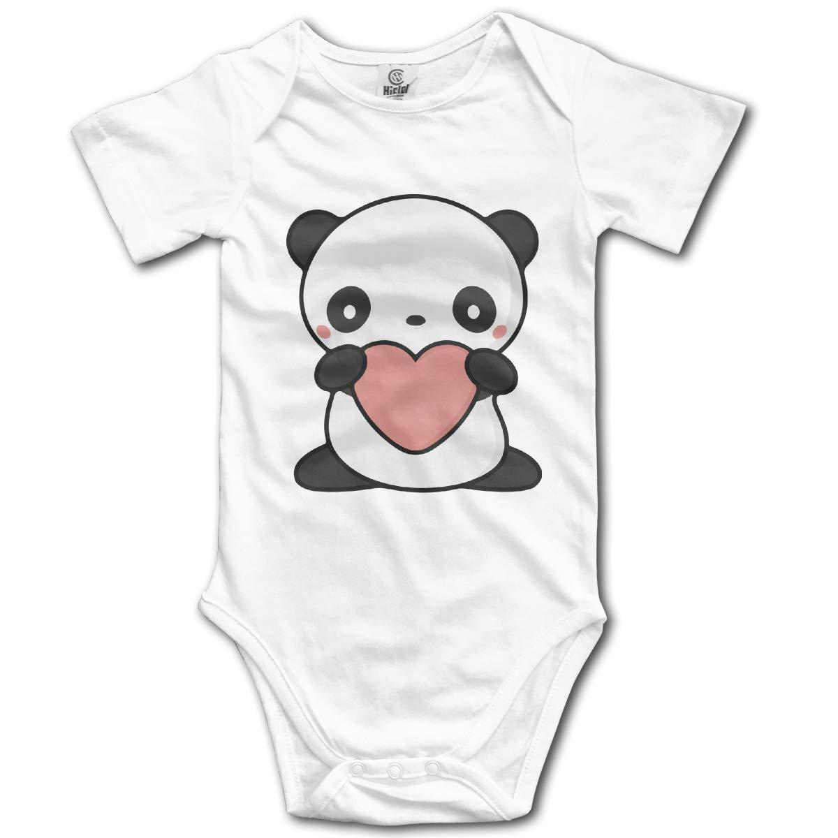 CDHL99 Cute Panda Unisex Solid Baby Short Sleeve Romper Pajamas 0-2T