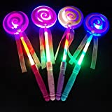 Bodhi2000 1pc LED Light Up Wand Fairy Princess Lollipop Hand Holder Glow Sticks for Kids Concert Party Favor Night Ball,Random Color