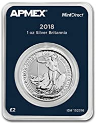 2018 UK Great Britain 1 oz Silver Britannia (MintDirect® Single) 1 OZ Brilliant Uncirculated
