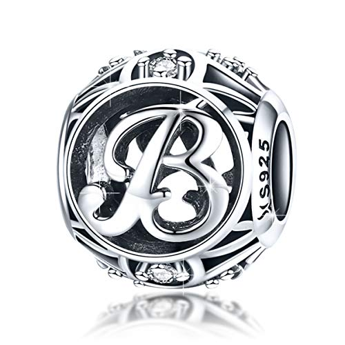 BAMOER 925 Sterling Silver Initial Letter B Charms for Bracelet Necklace Alphabet Beads