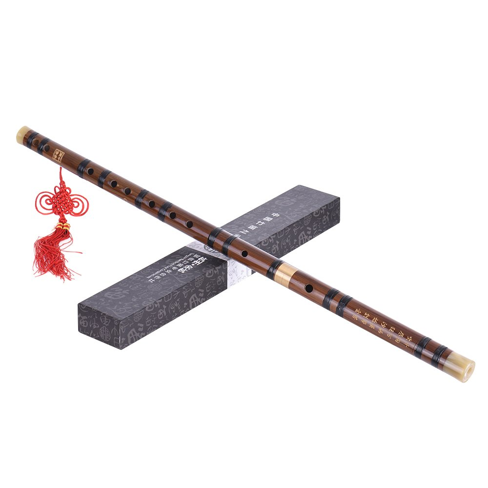 Andoer Pluggable Bitter Bamboo Flute Dizi Traditional Handmade Chinese Musical Woodwind Instrument Key of C Study Level Professional Performance