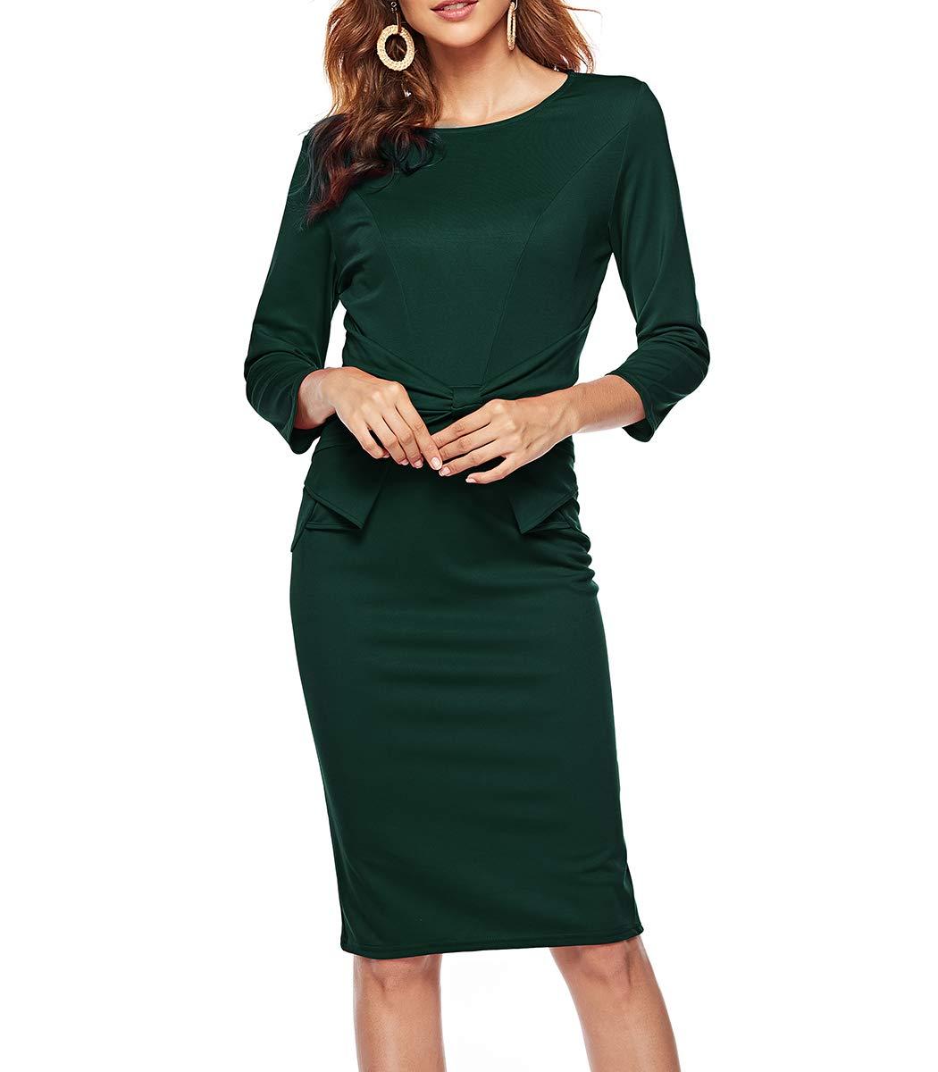 a1e5ddebf9dd CEASIKERY Womens 3/4 Sleeves Office Casual Pencil Wear to Work Church  Sheath Dress 40