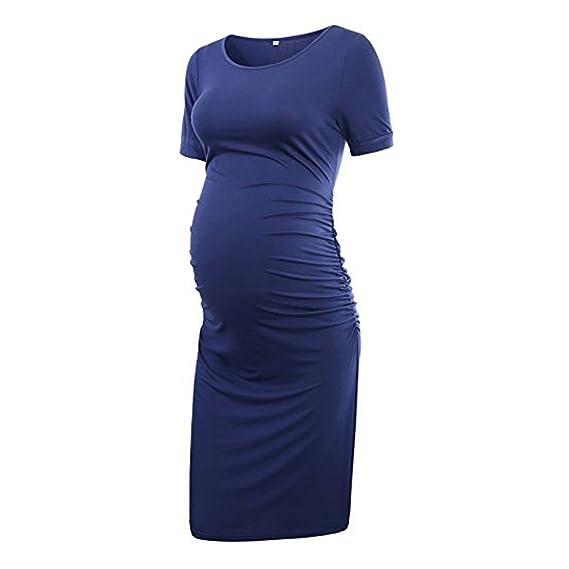 1a6a57c11 ... Maternidad Vestidos de Fiesta Mujer Cuello en V Ropa Premamá ...  Gusspower Vestido de Verano de Mujer
