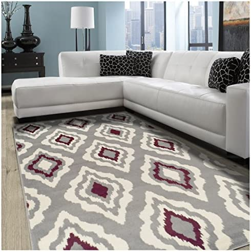 Superior Diamond Collection Area Rug, 8mm Pile Height with Jute Backing, Contemporary Geometric Ikat Pattern, Fashionable and Affordable Woven Rugs, 5 x 8 Rug
