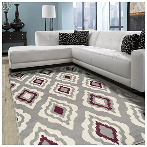Superior Diamond Collection Area Rug, 8mm Pile Height with Jute Backing,  Contemporary Geometric Ikat Pattern, Fashionable and Affordable Woven Rugs, 4' x 6' Rug