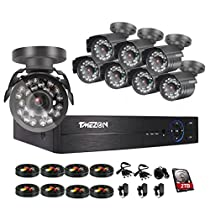 TMEZON 8 Channel 1080P Home Security Systems ,1080N AHD DVR w/ 8 2.0-Megapixel IR Night Vision Indoor/Outdoor Weatherproof Surveillance CCTV Security Cameras with 2TB HDD