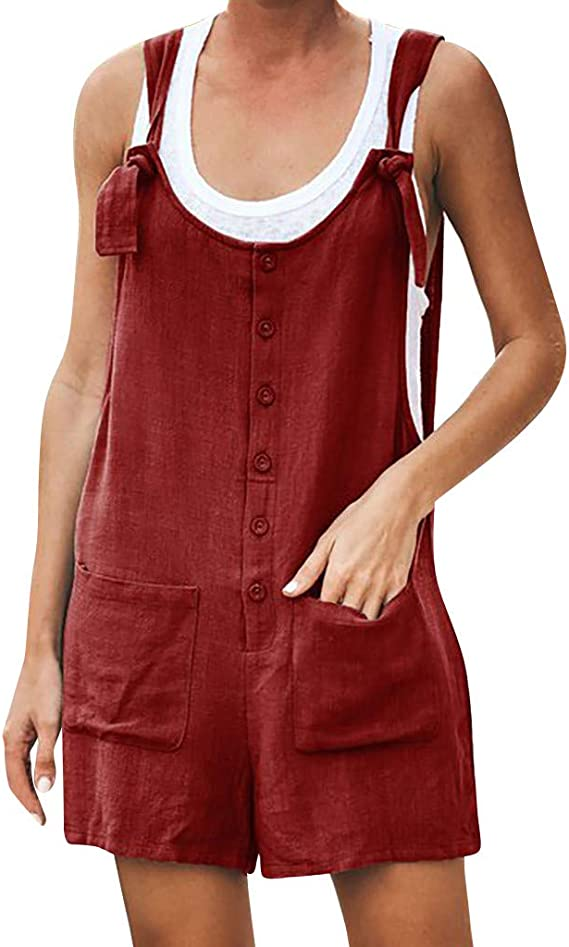 Jumpsuits For Women Loose Cotton Linen Overalls Wide Leg Short Pants Button Down Tank Tops With Pocket Casual Rompers Amazon Ca Clothing Accessories