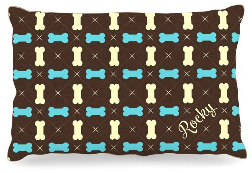 Kess InHouse KESS Original Riley  Boy Bones Name Fleece Dog Bed, 30 by 40-Inch, bluee Brown Tan
