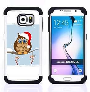 """Pulsar ( Búho del duende del invierno Sombrero Rojo Blanco Art Dibujo caramelo"""" ) Samsung Galaxy S6 / SM-G920 SM-G920 híbrida Heavy Duty Impact pesado deber de protección a los choques caso Carcasa de parachoques"""