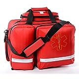 Aurelius EMT Bag Emergency Response First Aid Bag,Medical Supplies Not Included (Red) (Shorter)