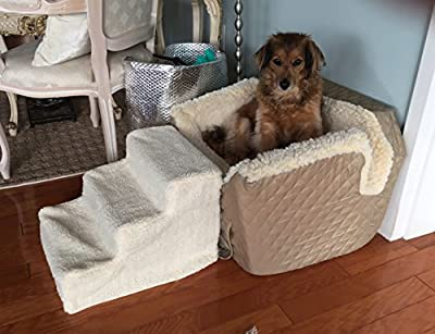Puppy Pet Stairs Dog Steps - For Small Pets Dogs Cats Doggie - Portable Cat, Pup, Doggy 3 Step Ladder Ramp - Helps Puppies Reach Couch, Bed, Sofa, Chairs, Auto. Ideal for Arthritic, Recovering Pets