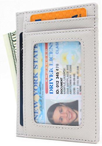 Small Leather RFID Blocking Minimalist Credit ID Card Holder Slim Pocket Wallets for Men & Women