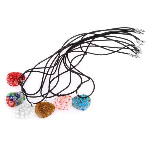 Ecloud ShopUS 6X Lampwork Glass Murano Heart Pendant Necklace 26x25MM FASHION