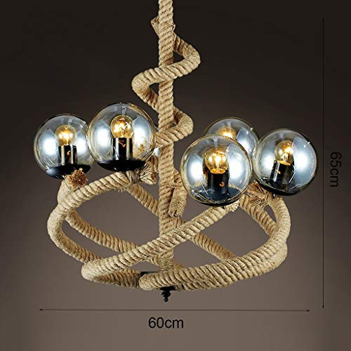 (deng Industrial Retro Magic Beans Hemp Rope Pendant Light 6 Lights American Village Loft Glass Lampshade Bar Cafe Hanging Lamp)