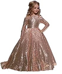 Rose Gold Long Sleeves Sequins Dress