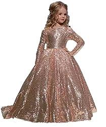 Rose Gold Sequins Girls Long Sleeves Dress