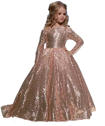 hengyud Rose Gold Sequins Toddler Pageant Dresses for Girls Long Sleeves Prom Dress for Kids 168