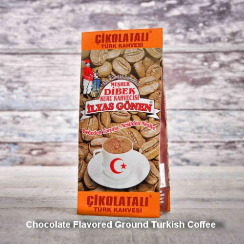 ilyas Gonen Dibek Ground Turkish Coffee/Plain Dibek and 19 Different Flavored (100g / 3,5oz) (Chocolate Flavored Ground Turkish Coffee) -  Dibek Kuru Kahve