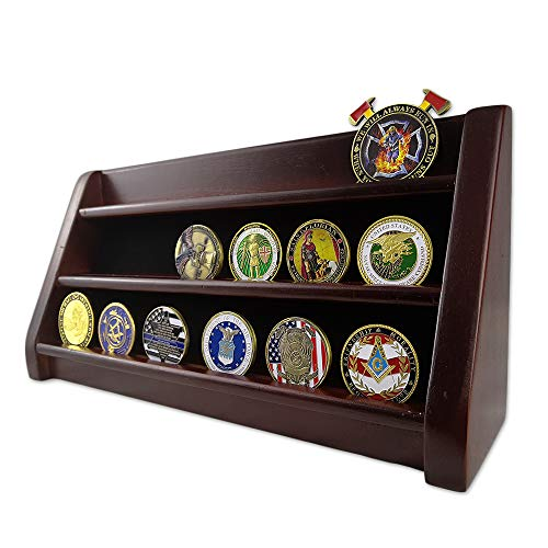 AtSKnSK 3 Rows Shelf Challenge Coin Display Stand Casino Chip Holder Rack, Mahogany Finish