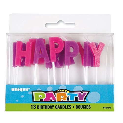 Purple Pink Letter Birthday Candles