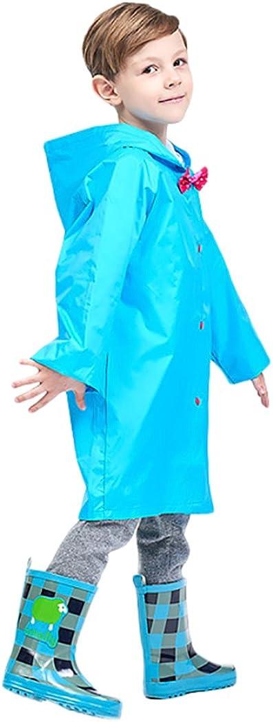 Kid's Durable Rain Cape/Raincoat Portable Hooded Poncho for Boys Girls Blue
