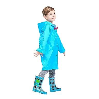 544964b11701 Amazon.com  Kid s Durable Rain Cape Raincoat Portable Hooded Poncho ...