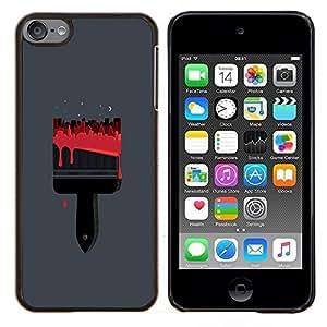 """For Apple iPod Touch 6 6th Touch6 Case , Pintura Pincel Rojo Arte Dibujo"""" - Diseño Patrón Teléfono Caso Cubierta Case Bumper Duro Protección Case Cover Funda"""