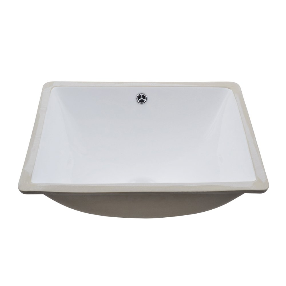 KES Bathroom Rectangular Porcelain Undermount Sink White Undercounter Sink for Lavatory Vanity Cabinet Contemporary Style with Overflow, BUS110 by Kes