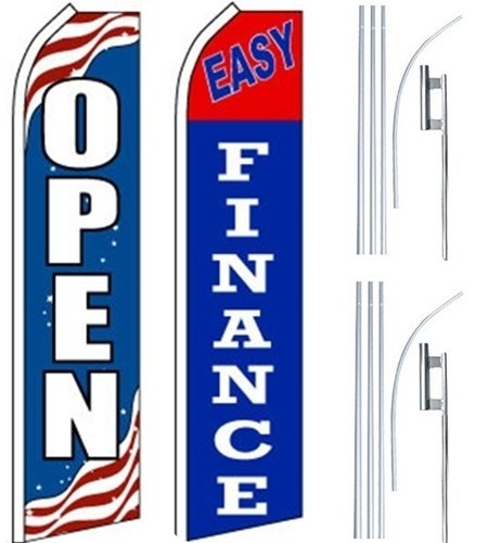 Car Auto Dealer Swooper Flutter Feather Flags & Poles 2 Pack-OPEN-Easy Finance by Mission Flags