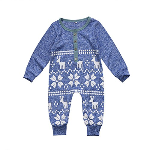BiggerStore Baby Girl Boy Christmas Romper Jumpsuit Long Sleeve One-Piece Bodysuit Snowflake Deer Pajamas Outfit Clothes (6-12 Months, Blue)