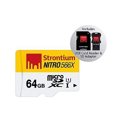 Strontium Nitro - Tarjeta de memoria microSD con 64 GB y lector de tarjetas USB, Blanco