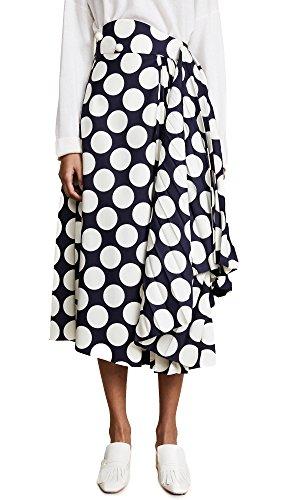 iant Polka Dot Skirt with Pleats, Navy/Off White, 36 (Pleats Polka Dots Skirt)