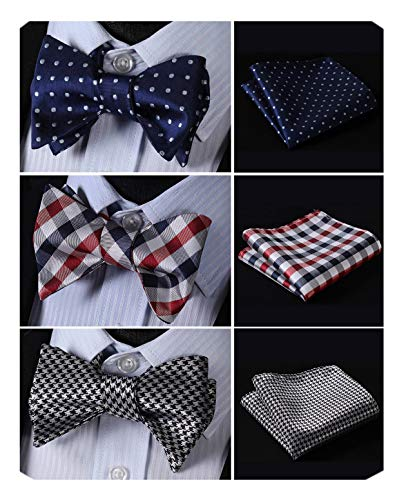 HISDERN 3pcs Mixed Design Classic Men's Self-Tie Bow tie & Pocket Square - Multiple Sets,B3-05,One ()