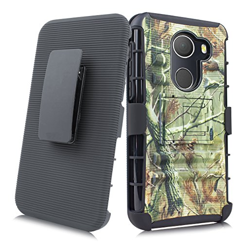 Alcatel A30 Fierce 2017 Case, Customerfirst Heavy Duty Shockproof Full-body Protective Hybrid Case Cover with Swivel Belt Clip and Kickstand for Alcatel A30 Plus/Alcatel Walters/Alcatel REVVL (Camo)