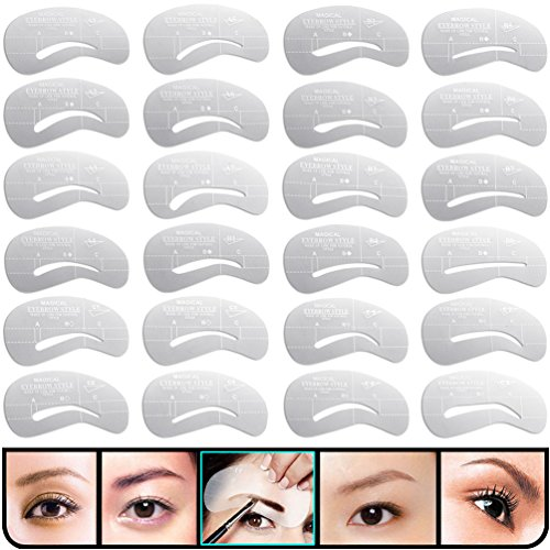 Stencil Guide - KINGMAS 24 pcs Eyebrow Stencils Reusable Eyebrow Drawing Guide Card Brow Shaping Template DIY Makeup Tools
